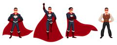 Superhero man in cape and usual clothes - stock illustration