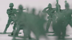 Panning shot of American Military - Symbolic toy soldiers - stock footage