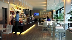 Service and customers in coffee bar (restaurant) Stock Footage