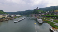 River Cruise in Europe - Germany - Moselle River Stock Footage
