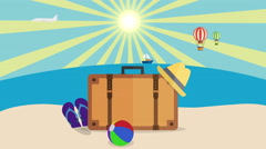 Vacation and travel Concept, Colorful Cartoon Beach Background, vacation stuff Stock Footage