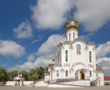Turov, Belarus - August 7, 2016: Cathedral of Saints Cyril and Lavrenti of Tu Stock Photos