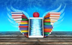tablet PC, colorful books stacked piles in the shape of wings and Apple mockup - stock illustration
