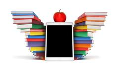 Tablet PC, colorful books stacked piles in the shape of wings and Apple mockup Stock Illustration