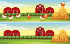 Chickens and barn in the farmyard Stock Illustration