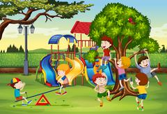 Many children playing in the park Stock Illustration