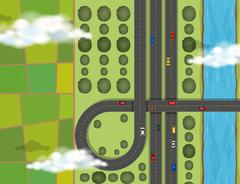 Aerial scene with cars on highway Stock Illustration
