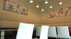 Beautiful and comfortable seating in restaurant Stock Footage