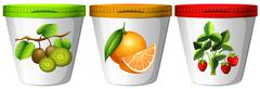 Yogurt with different flavor of fruits Stock Illustration