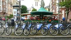 4K street scene Nextbike bicycle Leipziger strasse street Frankfurt am Main Stock Footage