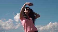 Close up of brunette glamour woman making selfie. Positive emotion and sunny Stock Footage