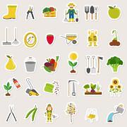 Gardening work, farming seamless pattern. Flat style design Stock Illustration