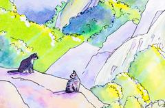 Original painting of two cats in a landscape Stock Illustration