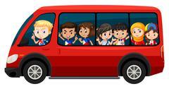 Children riding on red van Stock Illustration