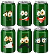 Green cans with facial expressions Stock Illustration