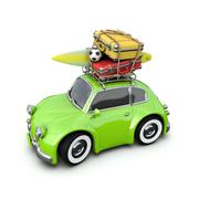 Retro car with Luggage and a surf Board in the journey, isolated on white. Stock Illustration