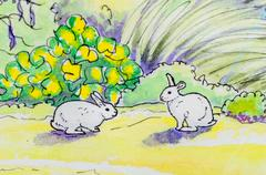 Original painting of two white rabbits outside. Stock Illustration