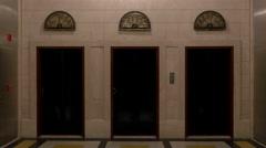 Vintage fully restored elevators doors Stock Footage