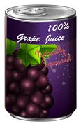 Grape juice in aluminum can Stock Illustration