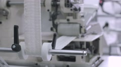 Machine producing in the textile factory Stock Footage