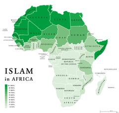 Islam in Africa political map Stock Illustration