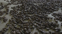 Camera movements along coffee beans Stock Footage