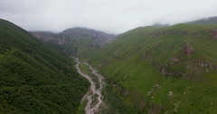 Aerial view of mountain river, canyon. Stock Footage
