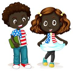 African American boy and girl Stock Illustration
