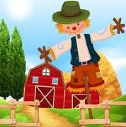 Farm scene with barn and scarecrow Piirros