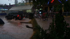 Flooded city Stock Footage