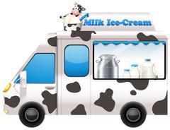 Food truck selling milk ice-cream Stock Illustration