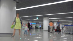 Baggage claim train POV, arrival terminal - Warsaw Chopin airport, Poland Stock Footage