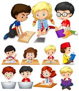 Boys and girls reading and studying Stock Illustration