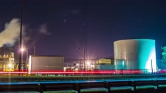 Factory with Lightning in clouds Stock Footage