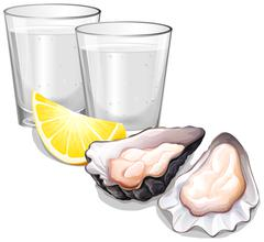 Vodka in glasses and oysters Stock Illustration