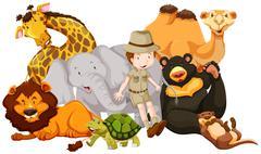 Wild animals and safari kid Stock Illustration