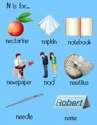 Many words begin with letter N Stock Illustration