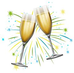 Two glasses of champagne with firework background Piirros
