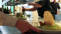 Waiter takes away a plates with ready food  Stock Footage
