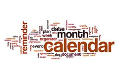 Calendar word cloud Stock Illustration