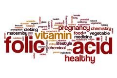 Folic acid word cloud Stock Illustration