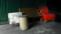 Exterior old furniture in abandoned market Stock Footage