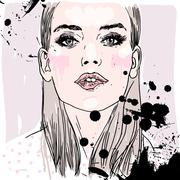 Fashion illustration: girl in stylish make-up Stock Illustration