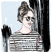 Summer fashion girl in striped t-shirt Stock Illustration