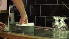 Bartender Washing Beer Glasses Stock Footage