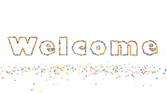 Welcome particle text 3d animation on white background Stock Footage