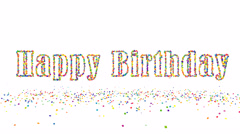 Happy Birthday text on white background Stock Footage