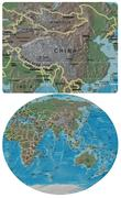 China and Asia Oceania map Stock Illustration