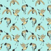 Seamless pattern with cranes Stock Illustration