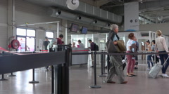 Airport terminal, passengers in borading area - Beauvais airport, France Stock Footage
